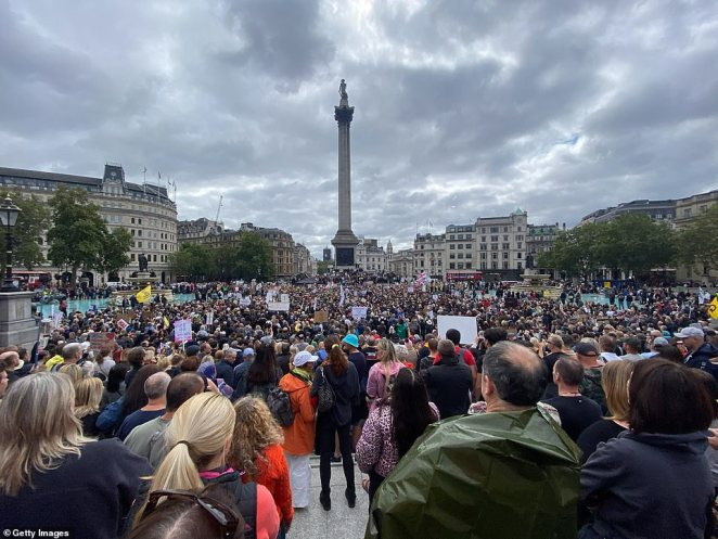 The large crowd gathered to protest the Government's coronavirus restrictions in Trafalgar Square on Saturday