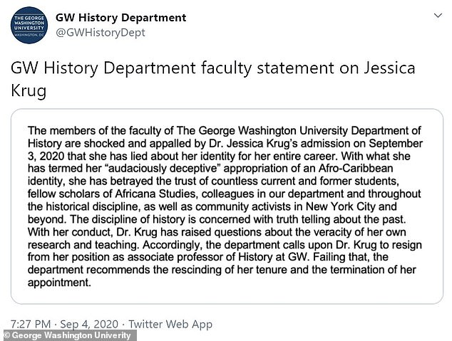 However, the history department has called on Krug to be fired or resign