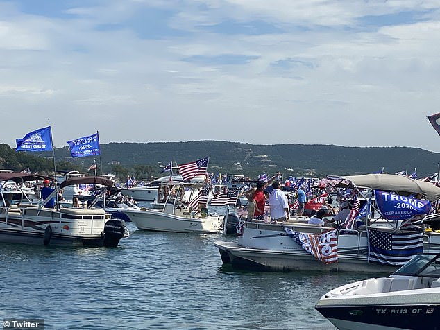 Dozens of boats gathered on the lake on Saturday in support of the president