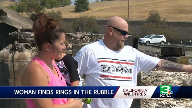 California couple Jason and Chloe Carroll left stunned after finding their wedding rings amid the smoldering remains of their home, which was torched by wildfires