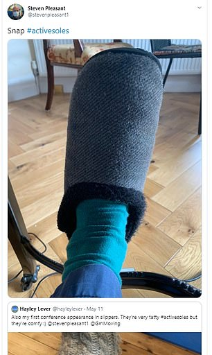Pictured:Steven Pleasant shared a picture of his slippers on his Instagram page
