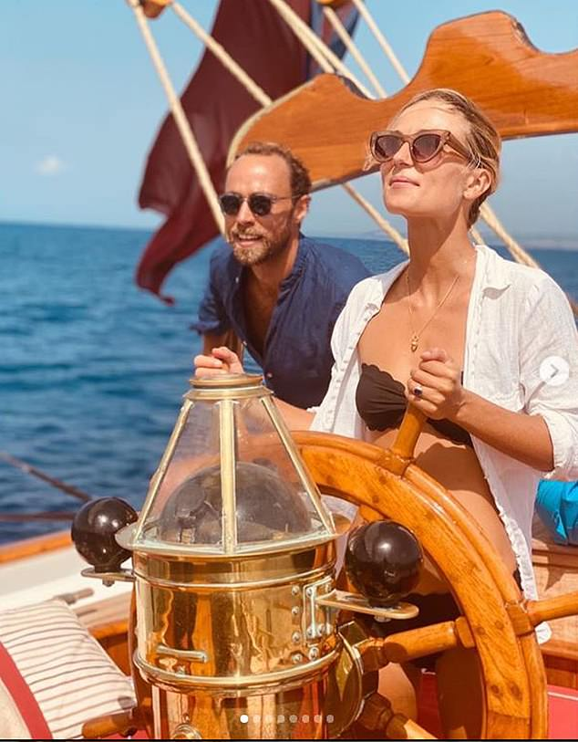 James Middleton and James and fiancee Alizee Thevenet have been sailing off Sicily