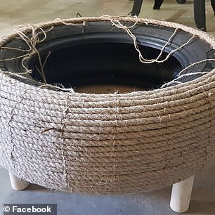 The repurposed wheels are wrapped in woven twine