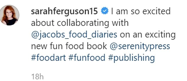 The Duchess of York said she was 'excited' to be working on the new fun food book with Laleh Mohmedi