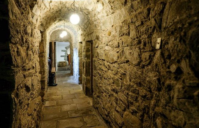 The original flagstones in the ground-floor hallway were lifted and relaid over underfloor heating