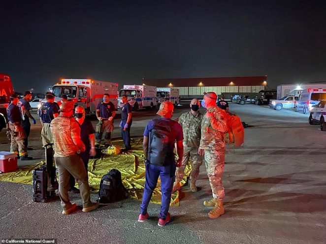 On Sunday Blackhawk helicopters and at least one Chinook flew to rescue the people surrounded by the blaze and took them to the National Gard base at the Fresno Yosemite International Airport where they were medically assessed