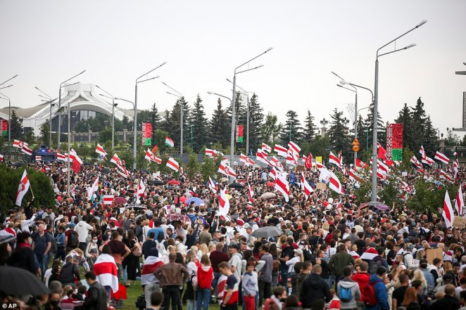 Protesters gather outside the residence of MrLukashenko during the peaceful protest