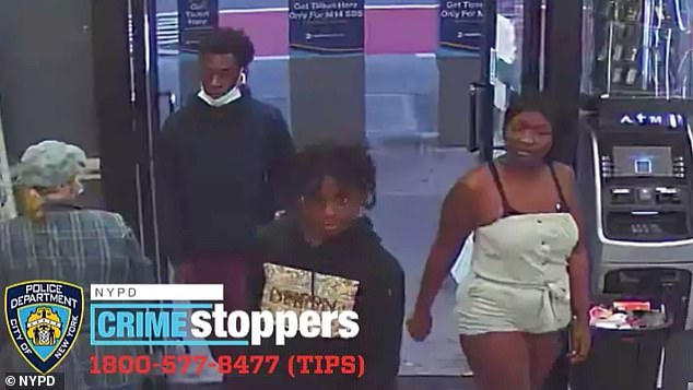 The suspects, pictured, fled the scene, leaving her purse behind, police said