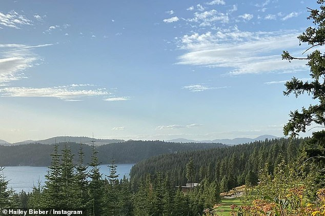 Views: Hailey took to Instagram to share a photo from her perspective in Idaho as she continued to enjoy the great outdoors with husband Justin