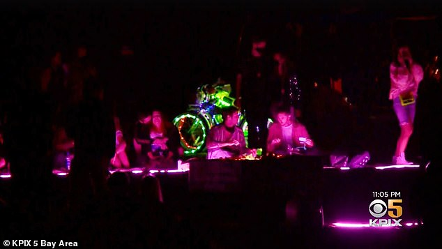 Local television station KPIX5 broadcast scenes showing DJs and light installations