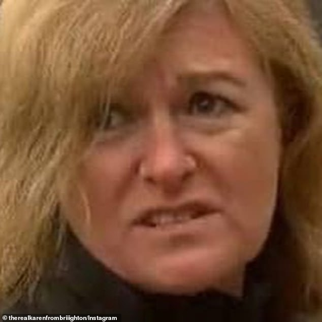 Karen from Brighton became famous following her comments about lockdown in a television interview (pictured)