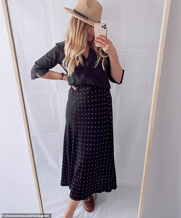 The skirt (pictured) is suitable for all shapes and sizes thanks to its high-cut, elasticated waist band and subtly flared hemline which make the body appear slimmer