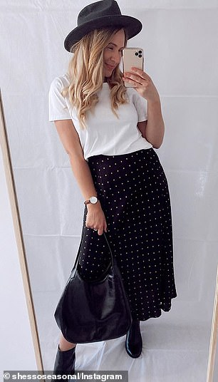 She called the skirt a 'gem' and an 'effortless' piece that's perfect for spring
