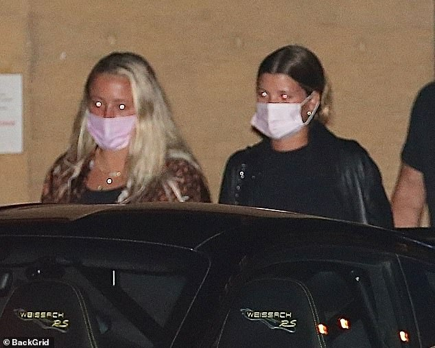 Heading home: After finishing their meal, Sofia was spotted leaving the swanky Japanese restaurant with a slew of pals