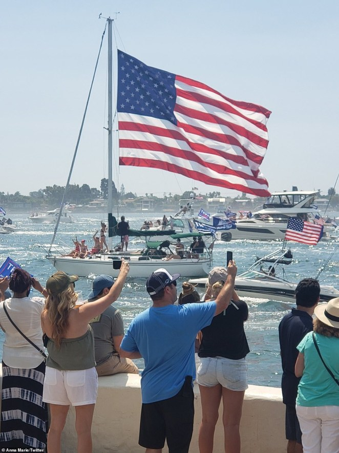 Californians watching the Great American Boat Parade in San Diego chanted 'four more years' as around 2,000 boats sailed by
