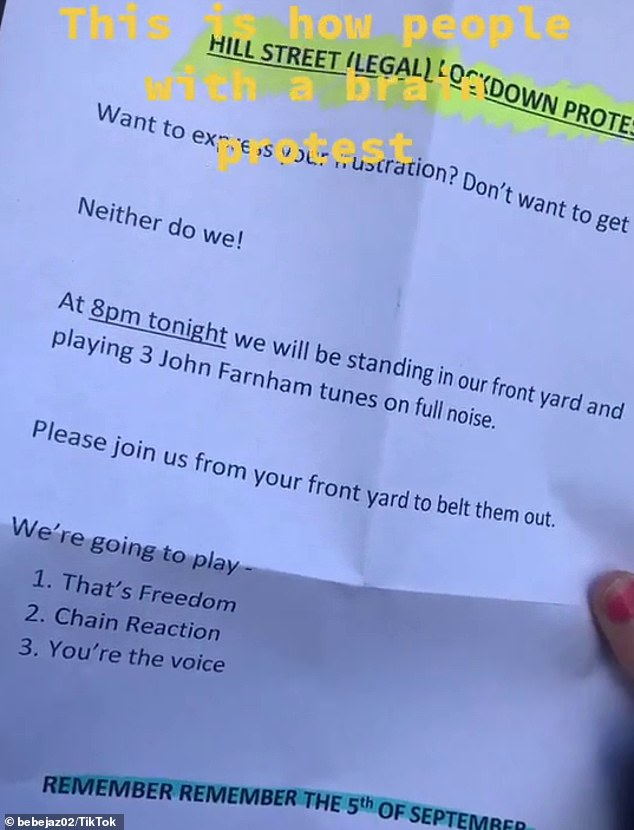 Residents in a Melbourne neighbouhood received this invitation in their letterbox on Saturday