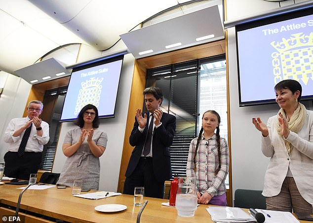 When Greta Thunberg (second from right) came to the UK in April last year, politicians including Michael Gove (far left) queued up to praise her and her arguments, which are indistinguishable from those of XR