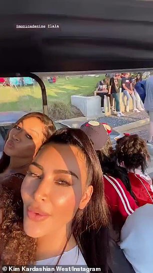 What pandemic? Kim shared a video of her, La La, and Grammy winner Monica (R) riding to Sunday Service in a VIP golf cart with her children - none of whom wore masks to protect themselves and others from the coronavirus