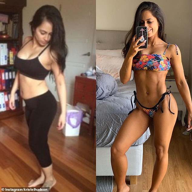 Sydney marketing coordinator Kristel Hudson (pictured left, in 2015 and right, in 2019) went from eating hot chips and slurpees for breakfast to winning bikini competitions
