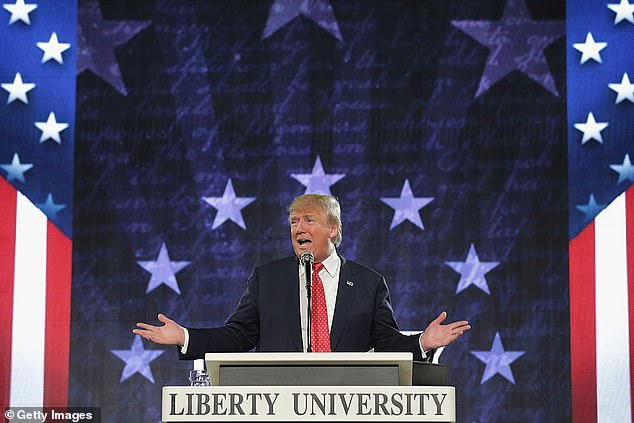 Trump speaks at evangelical Liberty University in January 2016 while on the campaign trail