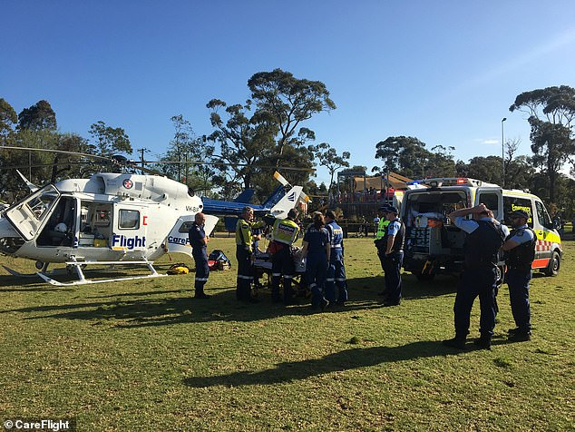 The CareFlight helicopter landed in a nearby oval on Sydney's northern beaches (pictured) to help paramedics stabalise the young patient