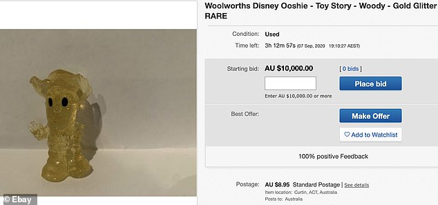 Another shopper from the ACT has set the cost to $10,000 for their glittery Woody from Toy Story