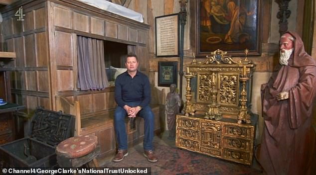George Clarke told how one of the rooms contained a bed inside a box and a monk watching over you while you sleep (pictured)