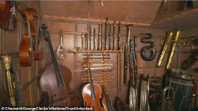 Charles turned Snowshill into his own personal museum - a mecca for toys, costumes, clocks and samurai armour - which now pulls in over 100, 000 of us, a year. Pictured, several musical instruments
