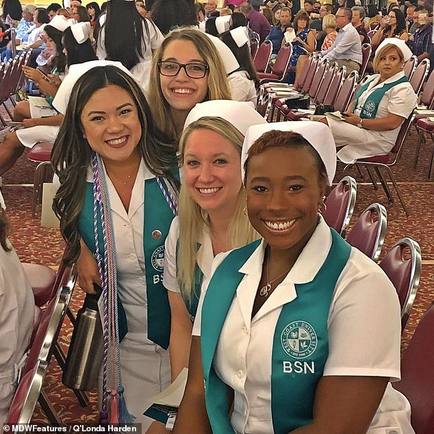 In June 2020, her period led to a sharp increase in hormone levels and her flare up was so severe she was left with no skin on her vaginal and anal regions. Pictured graduating as a regional nurse with her fellow students