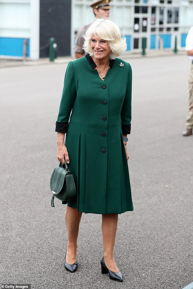 The Duchess of Cornwall, 73, appeared in high spirits today as she made her first visit to The Rifles headquarters following her new appointment as Colonel-in-Chief