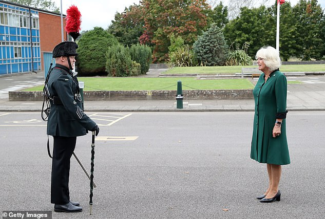 The Duchess continued to respect social distancing guidelines during the visit to the barracks earlier today