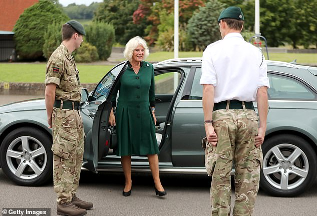 The Duchess appeared in high spirits as she arrived for the visit atBeachley Barracks earlier today