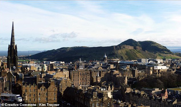 Arthur's seat is no stranger to history and legends. In fact, the peak takes its name from the folktale suggesting that the mythical King Arthur is buried, asleep, in a glass coffin at the heat of the volcanic hill, which is pictured here with Edinburgh in the foreground