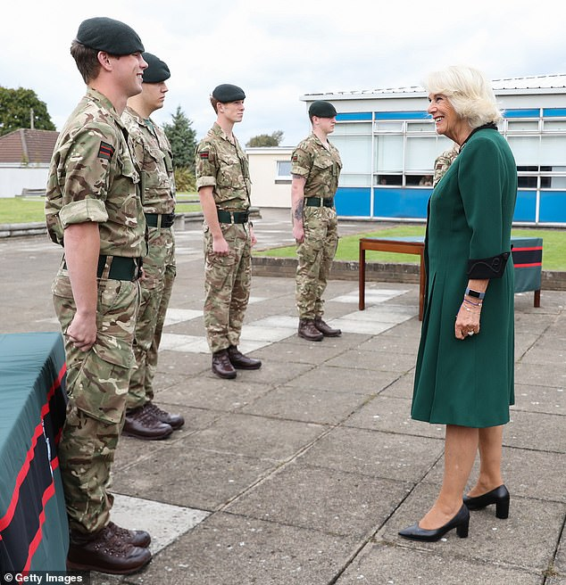 The royal spoke wit Riflemen who are currently undertaking further training, during her first visit to the 1st Battalion