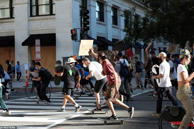 WASHINGTON DC: Protesters on skateboards took to the streets of the Capitol on Saturday to demand defunding the police