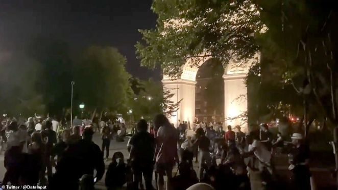 Video from the park, a popular NYU hangout, shows dozens of students gathered around its world famous fountain