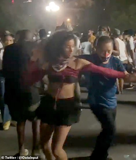 Some were wearing masks and a concerning number of other people were not, as they danced shoulder-to-shoulder in a large crowd