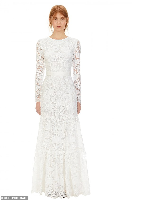 BEST FOR LACE LOVERS:Cut from white leaf guipure lace, this maxi dress is designed to be fitted through the bodice with a tonal grosgrain waistband, long sleeves, falling to a panelled skirt. This style is lined to the knee with an grosgrain waistband. Less is more!