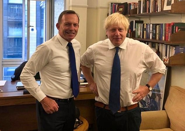 Tony Abbott pictured with UK leader Boris Johnson. Mr Turnbull said the idea of appointing a former Australian prime minister to the role was 'awkward to say the least'