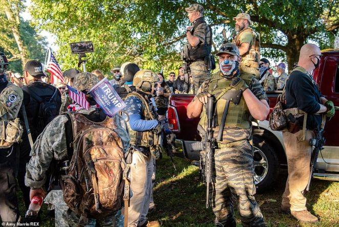 LOUISVILLE: Members of a pro-Trump militia attend the 'Patriot Gathering' on Derby Day on Saturday