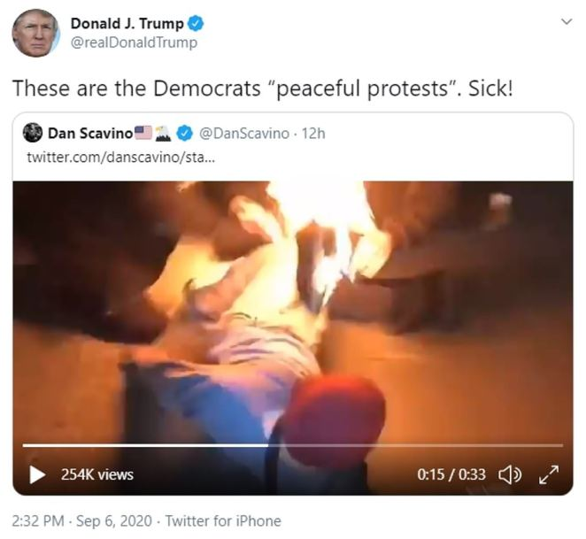 """Trump's latest tweet came hours after he panned 'Democrats' """"peaceful protests""""' when sharing a video of a protester who accidentally set himself on fire with his own Molotov cocktail on Saturday night in Portland"""