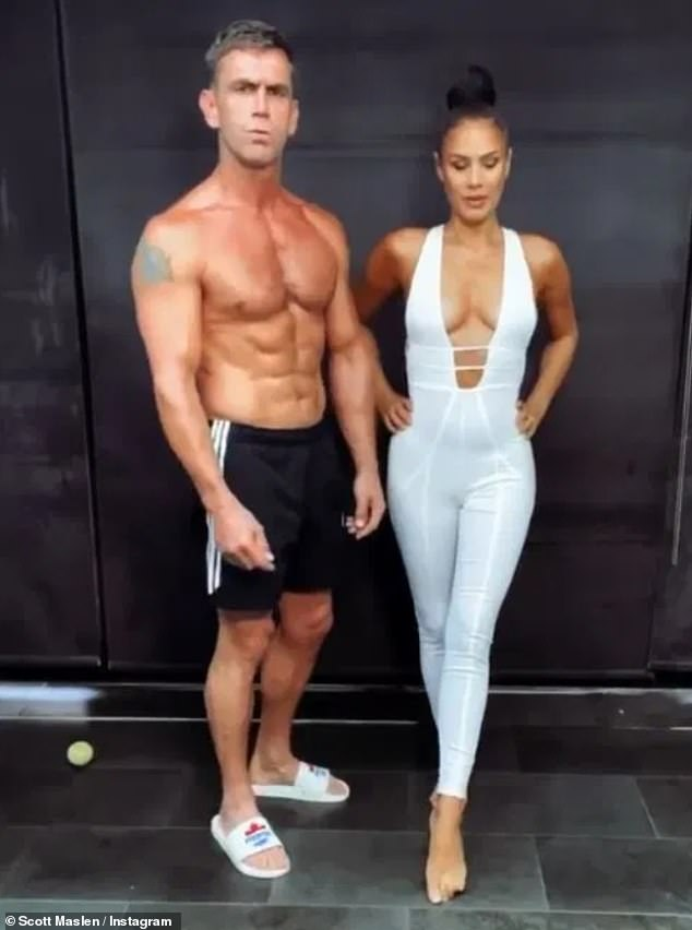 Looking good: Scott Maslen, 49, displayed his ripped physique in a funny video with his wife Estelle Rubio as they celebrated their 12th wedding anniversary
