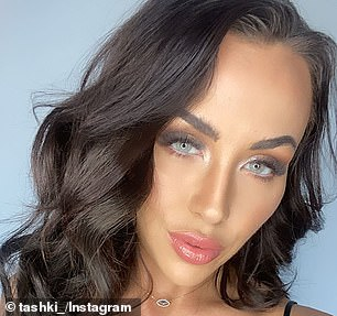 Different: The former Married At First Sight star wore a full face of makeup with bright highlighter and dark contour bringing adding angular lines to her features