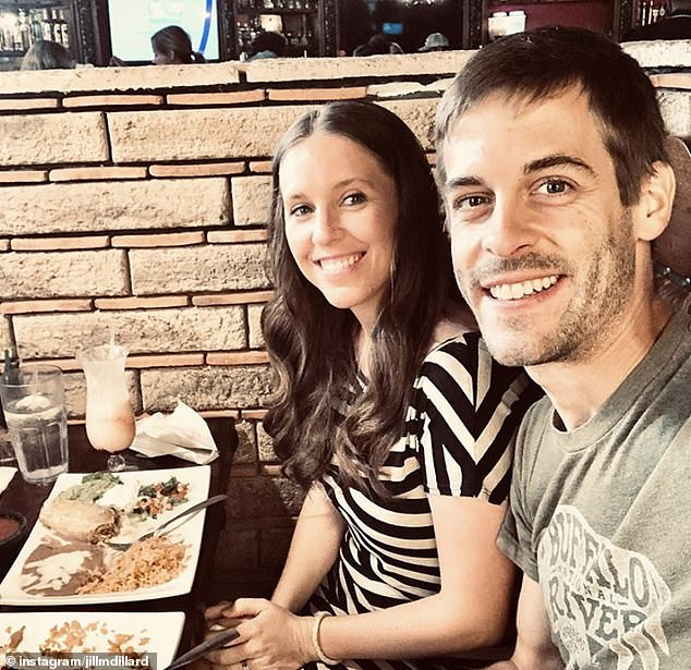Freedom! Jill was pictured enjoying a piña colada while out for a date night with her husband Derick Dillard earlier this month