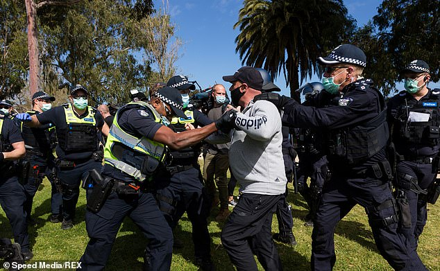 Pictured: coronavirus protests in Sydney on Saturday. Tensions are rising over lockdowns and Victorian Premier Daniel Andrews is under increasing pressure to lift Victoria's lockdowns