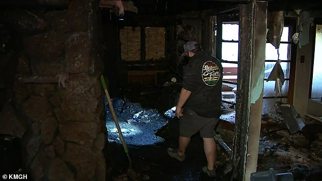 The room was destroyed in two minutes. Pictures show the devastation after the fire