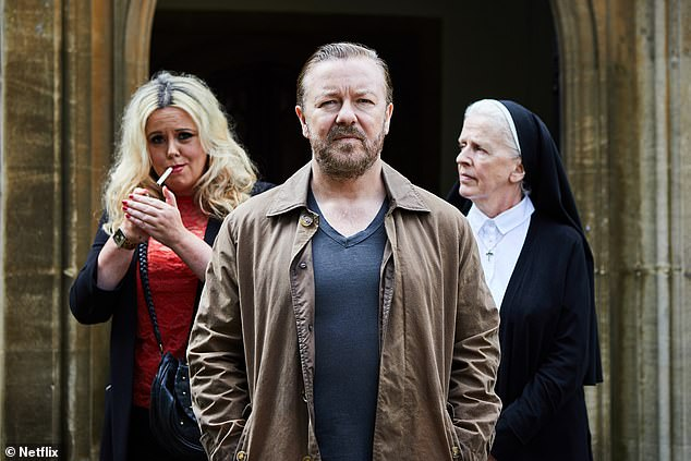 Praised:Ricky Gervais' Afterlife also beat out tough competition from Brassic, Friday Night Dinner and Still Open All Hours to win Best Comedy
