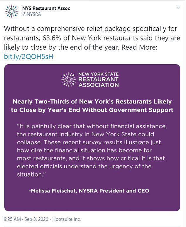 The New York State Restaurant Association (NYSRA) surveyed 1,042 restaurateurs across the state in the last week of August and discovered the restaurant industry is in dire need of state of federal financial help