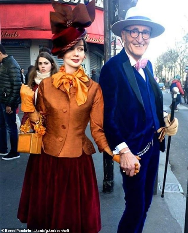 Dressed in his go-to hat and cane,Günther held hands with a stylish Britt, sporting a red velvet skirt with a bright orange blazer and matching accessories