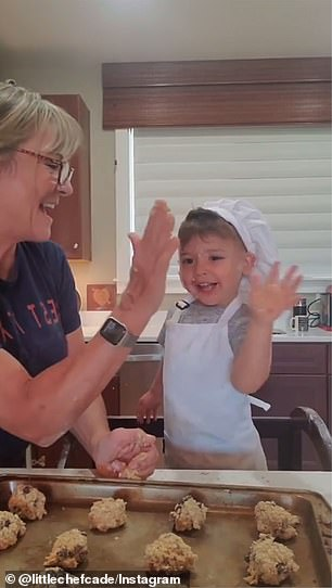 All done! He gives his grandma a high-five when they finish